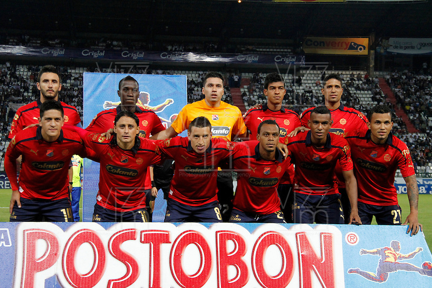 MANIZALES -COLOMBIA, 04-02-2014.  Aspecto del encuentro entre Once Caldas e Independiente Medellín  válido por la fecha 3 de la Liga Postobón I 2014 jugado en el estadio Palogrande de la ciudad de Manizales./ Aspect of the match betwee Once Caldas and Independiente Medellin for the 3rd date of the Postobon  League I 2014 at Palogrande stadium in Manizales city. Photo: VizzorImage/Santiago Osorio/STR