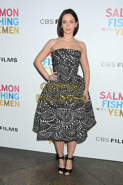 Emily Blunt.CBS Films' U.S. Premiere of 'Salmon Fishing In The Yemen' held at The Directors Guild of America in West Hollywood, California, USA..March 5th, 2012.full length white black print strapless dress hand on hip.CAP/ADM/BP.©Byron Purvis/AdMedia/Capital Pictures.