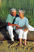 Senior couple at the beach, Cape Cod, MA
