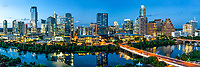 Austin Skyline From Above Pano - Another Aerial Austin skyline with the latest view along Lady Bird Lake with the hike and bike trail along the waters edge at twilight. This austin skyline includes the new tallest building in the cityscape the Independent or Jingle as some call it, plus our second tallest the Austonian, plus the Google new home, the Northshore condos which have been added recently, along with the W building, the Bowie, the Ashton and another new one at the far end the Fairmont Hotel and so many others its hard to name them all. Oh lets not forget the Frost building just barely peeping out from behind the Ashton and other new arrivals. Another city high rise you can just barely see anymore is the Austin 360 as the new high rises have almost completely block its view from here. Austin is a fast growing city with all of it sky-scrapers built in the last ten year so it is has a modern cityscape in downtown and is constantly changing for good or bad. Much of the growth of the city growth has been the large number of high tech companies which have move here to the city in the last five year or so. Austin is also the state capital and it is home to a major school the University of Texas. The city contines to draw tourist and people wanting to vist or live in this lively modern city with it well know night life being the music capital of the world and it great life style. However with that said I must mention the draw back from the increase traffic which can be a complete night mare at time.