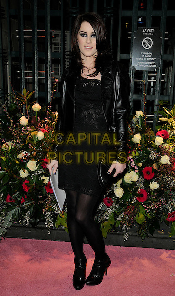 LUCIE JONES.The Gala Performance of 'Legally Blonde' at The Savoy Theatre, London, England. .January 13th, 2010 .full length black leather jacket lace dress tights ankle boots lucy.CAP/CAN.©Can Nguyen/Capital Pictures.