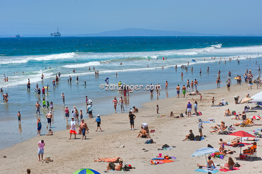 Huntington Beach Ca. Swimming, Oil Rig Platforms, Ca, Ocean Waves, People, Beach, Swimming, Tourist, travel