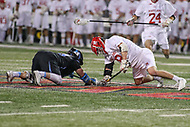 College Park, MD - April 29, 2017: Maryland Terrapins Austin Henningsen (18) tries to win the faceoff during game between John Hopkins and Maryland at  Capital One Field at Maryland Stadium in College Park, MD.  (Photo by Elliott Brown/Media Images International)