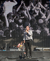 The Future Islands perform with Frontman Samuel T Herring entertaining the crowd during British Summertime Music Festival at Hyde Park, London, England on 18 June 2015. Photo by Andy Rowland.