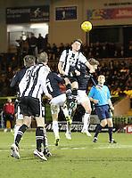 Jack Baird climbing highest in the St Mirren v Falkirk Scottish Professional Football League Ladbrokes Championship match played at the Paisley 2021 Stadium, Paisley on 1.3.16.