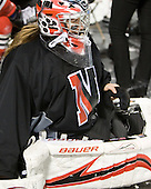 Leah Sulyma (NU - 1) - The Northeastern University Huskies practice on the ice at Fenway Park on Thursday, January 7, 2010, in Boston, Massachusetts.