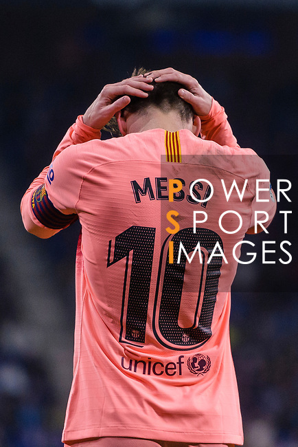 Lionel Messi of FC Barcelona reacts during the La Liga 2018-19 match between RDC Espanyol and FC Barcelona at Camp Nou on 08 December 2018 in Barcelona, Spain. Photo by Vicens Gimenez / Power Sport Images