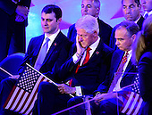 Marc Mezvinsky, former United States President Bill Clinton, and US Senator Tim Kaine (Democrat of Virginia) listen to the movie introducing Hillary Clinton during the fourth session of the 2016 Democratic National Convention at the Wells Fargo Center in Philadelphia, Pennsylvania on Thursday, July 28, 2016.<br /> Credit: Ron Sachs / CNP<br /> (RESTRICTION: NO New York or New Jersey Newspapers or newspapers within a 75 mile radius of New York City)