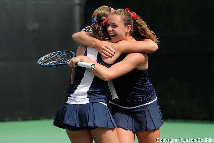 Iris Verboven and Julia Jones win in doubles play.  2012 SEC Women's Tennis Championships Semifinals.  Photo by UM Photographer Kevin Bain