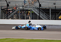 May 28, 2017; Indianapolis, IN, USA; IndyCar Series driver Scott Dixon (9) collides with Jay Howard (77) during the 101st Running of the Indianapolis 500 at Indianapolis Motor Speedway. Mandatory Credit: Mark J. Rebilas-USA TODAY Sports