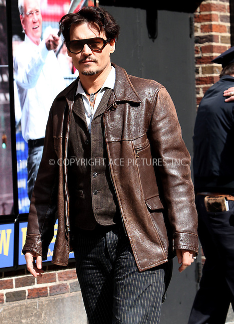 WWW.ACEPIXS.COM<br /> <br /> April 3 2014, New York City<br /> <br /> Actor Johnny Depp made an appearance on The Late Show with David Letterman on April 3 2014 in New York City<br /> <br /> By Line: Nancy Rivera/ACE Pictures<br /> <br /> <br /> ACE Pictures, Inc.<br /> tel: 646 769 0430<br /> Email: info@acepixs.com<br /> www.acepixs.com