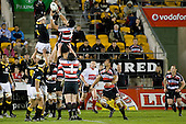 Fritz Lee competes with Jeremy Thrush for lineout ball. Air New Zealand Cup rugby game between Counties Manukau Steelers & Wellington played at Mt Smart Stadium on the 31st August 2007. The Score was 13 all at halftime, with Wellington going on to win 33 - 18.