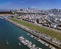 aerial photograph of a full parking lot at the Marina Green, San Francisco, California