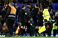 3rd March 2020; Stamford Bridge, London, England; English FA Cup Football, Chelsea versus Liverpool; Liverpool Manager Jurgen Klopp speaks with the referee Chris Kavanagh at full time