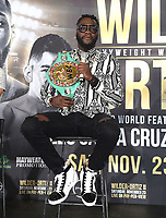 LOS ANGELES - SEPTEMBER 28: Deontay Wilder during a Los Angeles press conference for the November 23, 2019 Fox Sports PBC Pay-Per-View fight night at the MGM Grand in Las Vegas. (Photo by Frank Micelotta/Fox Sports/PictureGroup)