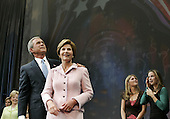 United States President George W. Bush and first lady Laura Bush along with their twin daughters Barbara (R) and Jenna (2ndR) recieve applause after speaking at a victory celebration at the Ronald Reagan Building, November 3, 2004 in Washington DC. After deciding not to contest the votes in the battleground state of Ohio, Democratic presidential candidate Sen. John Kerry (Democrat of Massachusetts) called President Bush to concede and congratulated him.  <br /> Credit: Mark Wilson / Pool via CNP