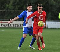 KSV Rumbeke - KSV De Ruiter : Jens Kimpe aan de bal voor de verdedigende Steve Mollij (links)<br /> foto VDB / Bart Vandenbroucke