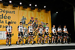 Team Sunweb on stage at the Team Presentations for the 105th Tour de France 2018 held on Napoleon Square in La Roche-sur-Yon, France. 5th July 2018. <br /> Picture: ASO/Bruno Bade | Cyclefile<br /> All photos usage must carry mandatory copyright credit (&copy; Cyclefile | ASO/Bruno Bade)