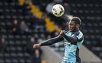 Aaron Pierre of Wycombe Wanderers clears the ball during the Sky Bet League 2 match between Notts County and Wycombe Wanderers at Meadow Lane, Nottingham, England on 28 March 2016. Photo by Andy Rowland.