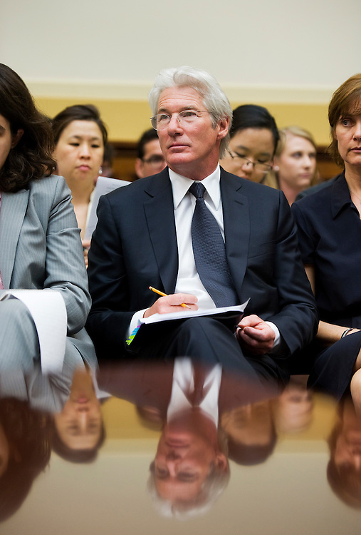"UNITED STATES - JUNE 02:  Richard Gere, actor and chairman of the board of directors for the International Campaign for Tibet, waits to testify before a House Foreign Affairs Committee hearing in Rayburn entitled ""Religious Freedom, Democracy, Human Rights in Asia: Status of Implementation of the Tibetan Policy Act, Block Burmese JADE Act, and North Korean Human Rights Act.""  (Photo By Tom Williams/Roll Call)"
