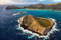 An aerial view taken during a sunrise helicopter tour of Rabbit Island, Bird Island, Makapu'u, Waimanalo and the Ko'olau Range, Windward O'ahu.