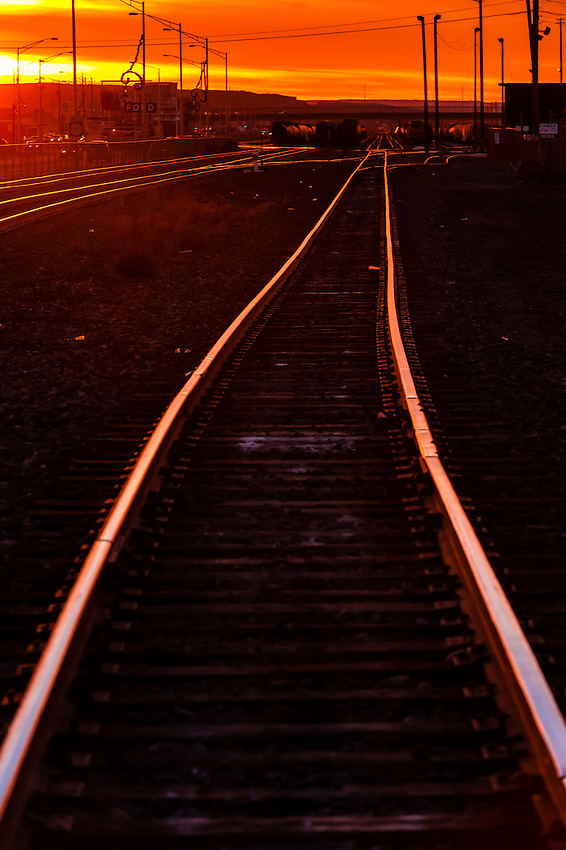Train tracks at sunset, Gallup, New Mexico USA.