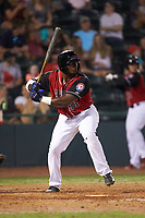 Tyreque Reed (38) of the Hickory Crawdads at bat against the Kannapolis Intimidators at L.P. Frans Stadium on July 20, 2018 in Hickory, North Carolina. The Crawdads defeated the Intimidators 4-1. (Brian Westerholt/Four Seam Images)