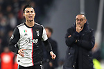 Cristiano Ronaldo of Juventus and Maurizio Sarri Head coach of Juventus during the UEFA Champions League match at Juventus Stadium, Turin. Picture date: 26th November 2019. Picture credit should read: Jonathan Moscrop/Sportimage