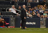 Kansas City, Kansas - Saturday April 16, 2016: Western New York Flash head coach Paul Riley watches against FC Kansas City in the second half at Children's Mercy Park. Western New York won 1-0.
