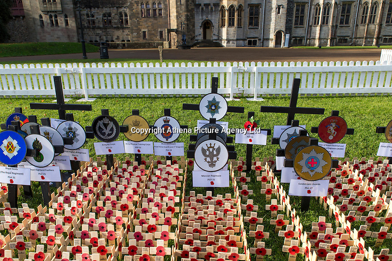 Pictured: The field of remembrance at Cardiff Castle, Wales, UK. Thursday 10 November 2016 <br /> Re: A field of remembrance honouring members of the armed forces since World War One has opened at Cardiff Castle.<br /> More than 10,000 remembrance crosses and tributes from other faiths have been planted at the Welsh national field of remembrance, which will be open until 19 November.<br /> This year also commemorates the centenary of Mametz Wood at the Battle of the Somme.