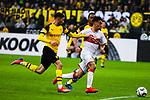 09.03.2019, Signal Iduna Park, Dortmund, GER, 1.FBL, Borussia Dortmund vs VfB Stuttgart, DFL REGULATIONS PROHIBIT ANY USE OF PHOTOGRAPHS AS IMAGE SEQUENCES AND/OR QUASI-VIDEO<br /> <br /> im Bild   picture shows:<br /> Nicolas Gonzalez (VfB Stuttgart #22) setzt sich gegen Achraf Hakimi (Borussia Dortmund #5) durch, <br /> <br /> Foto &copy; nordphoto / Rauch