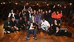 "Carvens Lissaint with student performers during The Rockefeller Foundation and The Gilder Lehrman Institute of American History sponsored High School student #eduHam matinee performance of ""Hamilton"" Q & A at the Richard Rodgers Theatre on December 5,, 2018 in New York City."