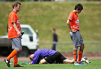 Waikato's Corey Hitchins, keeper Sean Dowling and Tewi Te Pou are dejected after the 2-1 loss..NZFC soccer  - Team Wellington v Waikato FC at Newtown Park, Wellington. Sunday, 20 December 2009. Photo: Dave Lintott/lintottphoto.co.nz
