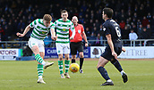 17th March 2019, Dens Park, Dundee, Scotland; Ladbrokes Premiership football, Dundee versus Celtic; James Forrest of Celtic has a shot on goal