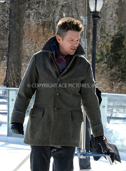 WWW.ACEPIXS.COM<br /> <br /> February 24 2015, New York City<br /> <br /> Actor Ethan Hawke shooting a scene at an ice rink for the new movie 'Maggie's Plan' on February 24 2015 in New York City<br /> <br /> By Line: Curtis Means/ACE Pictures<br /> <br /> <br /> ACE Pictures, Inc.<br /> tel: 646 769 0430<br /> Email: info@acepixs.com<br /> www.acepixs.com