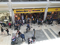 Queues of people outside the Build a Bear shop in Gateshead, England, UK. Thursday 12 July 2018