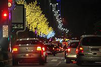 SAO PAULO, 24 DEZEMBRO 2012 - NATAL - TRANSITO - Transito intenso na Avenida Paulista decorrente a quantidade de pessoas que visitam o Natal Iluminado na regiao, na madrugada desta segunda-feira, 24. (FOTO: WILLIAM VOLCOV / BRAZIL PHOTO PRESS).