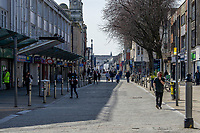 Pictured: A general view of Swansea City Centre during the Covid-19 Coronavirus pandemic in Wales, UK, Swansea, Wales, UK. Monday 23 March 2020