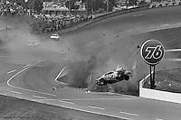 Frame #7 of Ricky Rudd's crash during the 1984 Busch Clash NASCAR race at Daytona International Speedway.