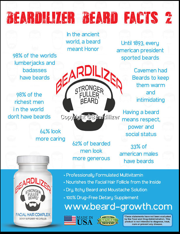 BNPS.co.uk (01202 558833)<br /> Pic: Beardilizer/BNPS.co.uk<br /> <br /> ***Please Use Full Byline***<br /> <br /> Men with feeble facial fuzz need no longer worry thanks to a new 'fertiliser' which promises to boost beard growth.<br /> <br /> The supplement, called Beardilizer, is aimed at blokes who crave a more hirsute look but struggle to grow anything more than stubble.<br /> <br /> It's made from a blend of vitamins and minerals that its makers claim stimulate and nourish facial hair follicles.<br /> <br /> It has been such a hit in the US that around 1,000 bottles are sold every day.<br /> <br /> A one-month course of the supplement costs 28.90 pounds and can be bought online.