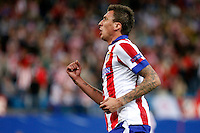 Mandzukic of Atletico de Madrid scores during Champios Legue soccer match between Atletico de Madrid V Malmoe al Vicente Calderon Stadium. October 22, 2014. (ALTERPHOTOS/Caro Marin)