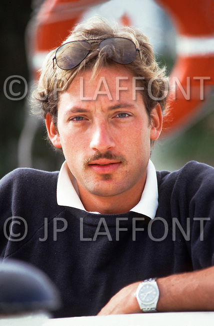 April, 1985. El Kantaoui, Tunisia. Anthony Peck, American actor, son of Gregory Peck, photographed during the shooting of the film The Pirates, directed by Roman Polanski.