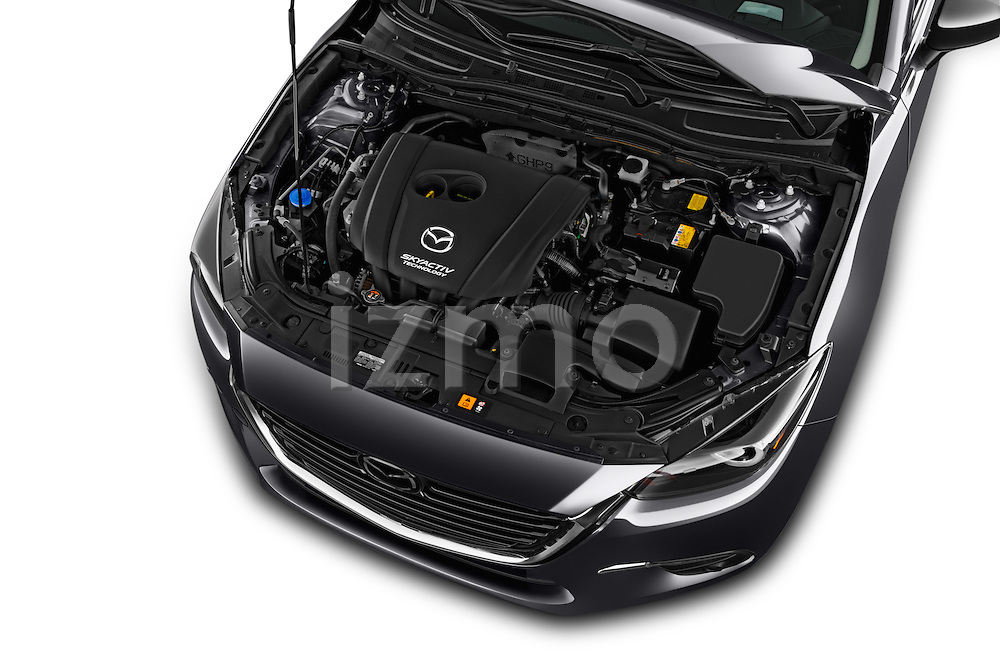Car Stock 2017 Mazda Mazda3 Grand-Touring 5 Door Hatchback Engine  high angle detail view