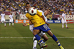 10 AUG 2010: Neymar (BRA) (11) and Alejandro Bedoya (USA) (behind). The United States Men's National Team lost to the Brazil Men's National Team 0-2 at New Meadowlands Stadium in East Rutherford, New Jersey in an international friendly soccer match.
