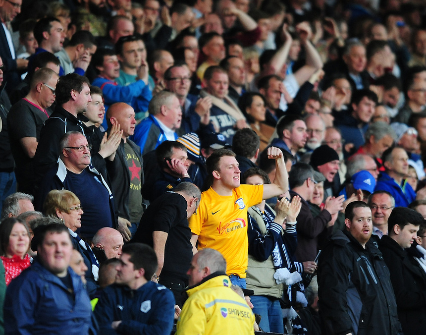 Preston North End fans celebrate after Preston North End's Jermaine Beckford scored the opening goal <br /> <br /> Photographer Chris Vaughan/CameraSport<br /> <br /> Football - The Football League Sky Bet League One - Notts County v Preston North End - Tuesday 21st April 2015 - Meadow Lane - Nottingham<br /> <br /> &copy; CameraSport - 43 Linden Ave. Countesthorpe. Leicester. England. LE8 5PG - Tel: +44 (0) 116 277 4147 - admin@camerasport.com - www.camerasport.com