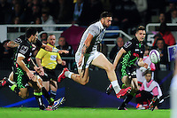 Matt Banahan of Bath Rugby puts boot to ball. European Rugby Challenge Cup match, between Pau (Section Paloise) and Bath Rugby on October 15, 2016 at the Stade du Hameau in Pau, France. Photo by: Patrick Khachfe / Onside Images