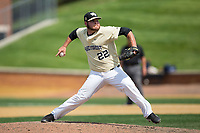 Wake Forest Demon Deacons relief pitcher Parker Johnson (22) in action against the Pittsburgh Panthers at David F. Couch Ballpark on May 20, 2017 in Winston-Salem, North Carolina. The Demon Deacons defeated the Panthers 14-4.  (Brian Westerholt/Four Seam Images)