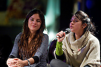 Le leaders del movimento studentesco Cileno Camila Vallejo e Karol Cariola durante il loro incontro al Caffè Letterario a Roma..Chile's student movement leaders, Camila Vallejo and Karol Cariola during a meeting in Rome to talk about the protest against the Student Education Reform in Chile.