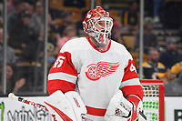 September 26, 2018: Detroit Red Wings goaltender Jonathan Bernier (45) waits for the action to resume during the NHL pre-season game between the Detroit Red Wings and the Boston Bruins held at TD Garden, in Boston, Mass. Detroit defeats Boston 3-2 in overtime. Eric Canha/CSM