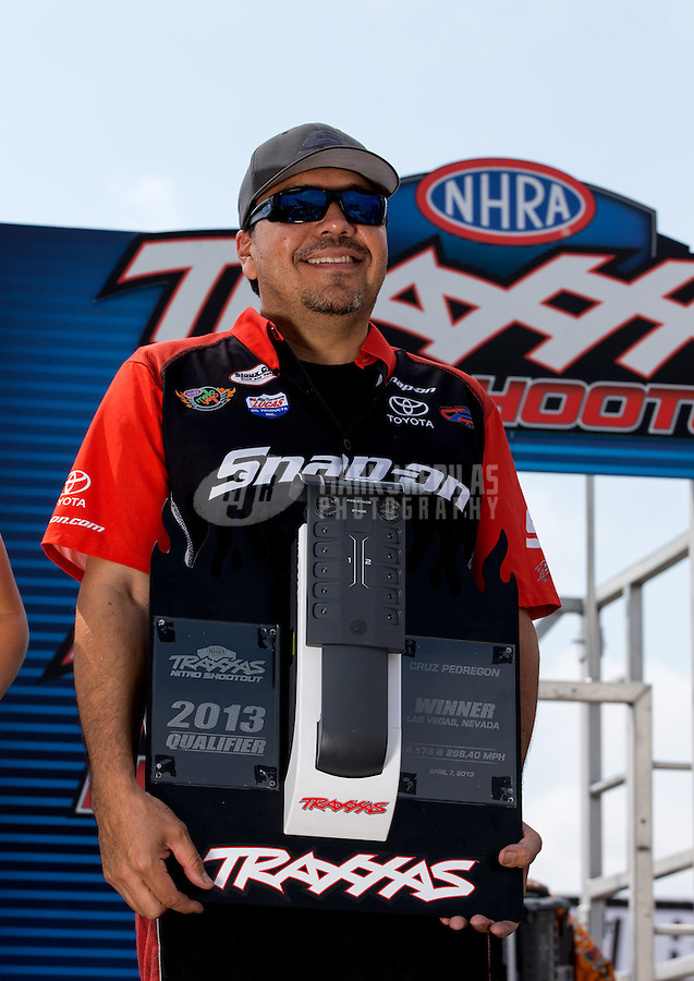 Sept. 1, 2013; Clermont, IN, USA: NHRA funny car driver Cruz Pedregon during qualifying for the US Nationals at Lucas Oil Raceway. Mandatory Credit: Mark J. Rebilas-